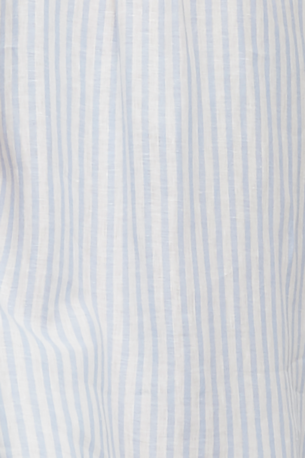 Long Sleep Shirt Pale Blue Linen Stripe