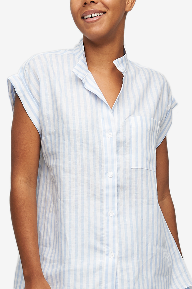 Cuffed Sleeve Shirt Pale Blue Linen Stripe