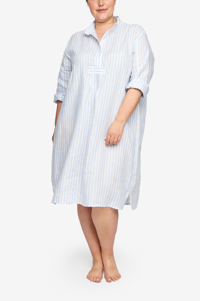 Long Sleep Shirt Pale Blue Linen Stripe PLUS