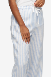 Set - Cuffed Sleeve Shirt and Lounge Pant Pale Blue Linen Stripe