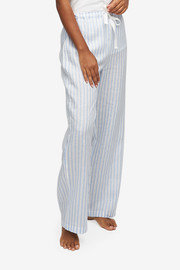 Lounge Pant Pale Blue Linen Stripe