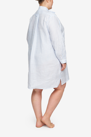 Short Sleep Shirt Pale Blue Linen Stripe PLUS
