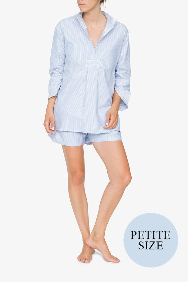 Short Sleep Shirt Blue Oxford Stripe