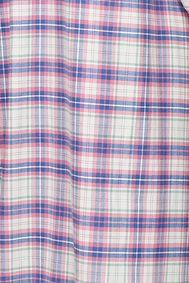 Fabric detail of pink, green, blue, and cream check flannel cotton