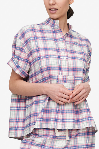 Short Sleeve Cropped Sleep Shirt Pink Carnaby Plaid
