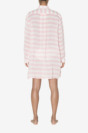 back view classic short sleep shirt pink horizontal stripe linen by the Sleep Shirt