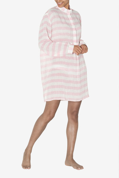 front view classic short sleep shirt pink horizontal stripe linen by the Sleep Shirt