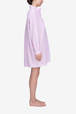 Placket Sleep Shirt Pink Linen Blend