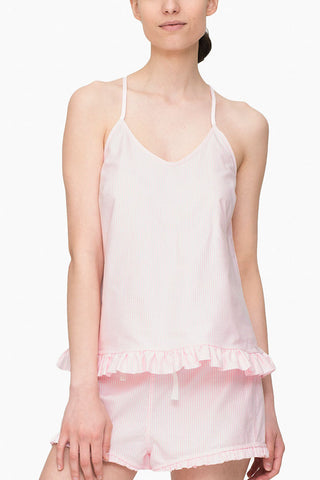 Ruffle Camisole Pink Oxford Stripe