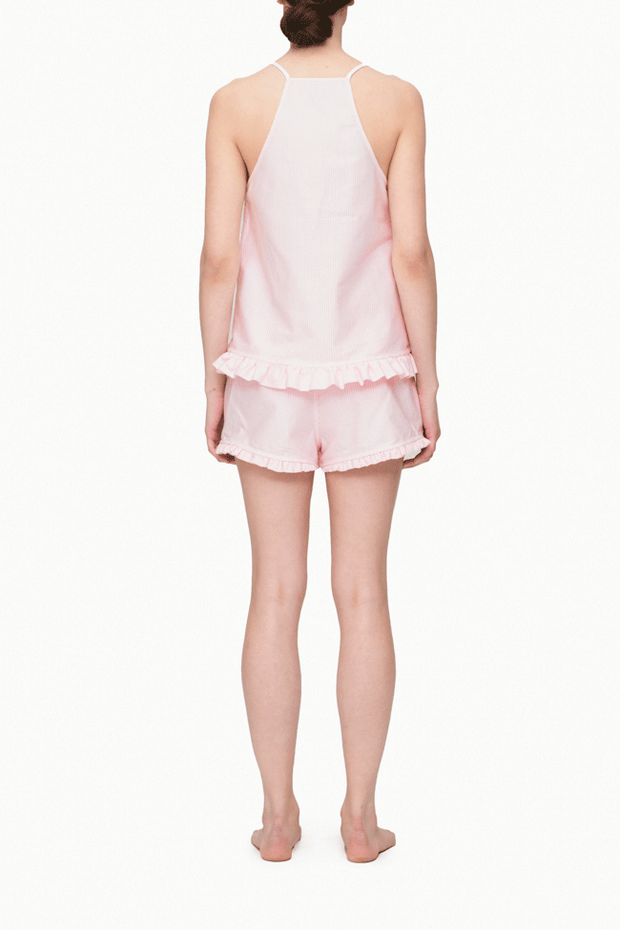back view camisole tank top short with ruffle hem pajama set pink oxford stripe cotton by the Sleep Shirt