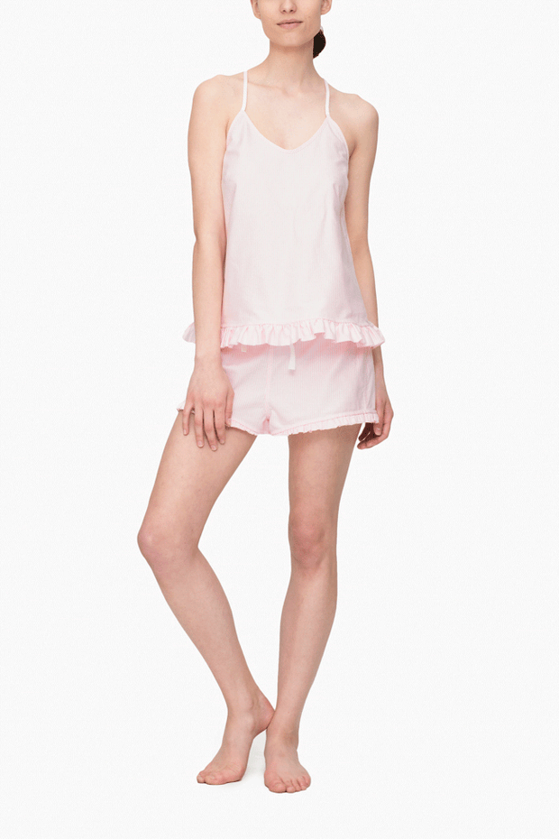 front view camisole tank top with ruffle hem in pink oxford stripe cotton by the Sleep Shirt