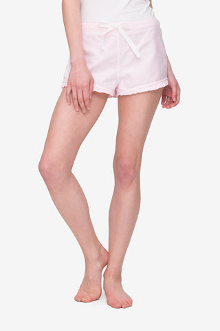 front view pajama shorts with ruffle hem in pink oxford stripe cotton by the Sleep Shirt