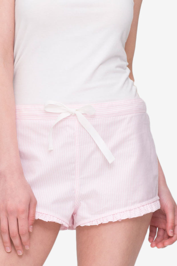 front cropped view pajama shorts with ruffle hem in pink oxford stripe cotton by the Sleep Shirt