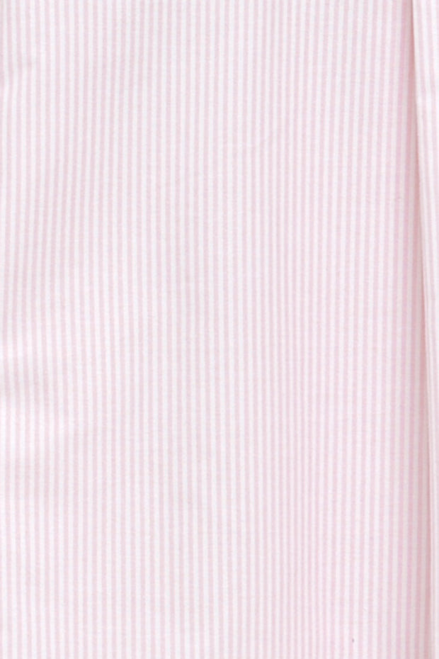 Short Sleeve Cropped Shirt Pink Oxford Stripe