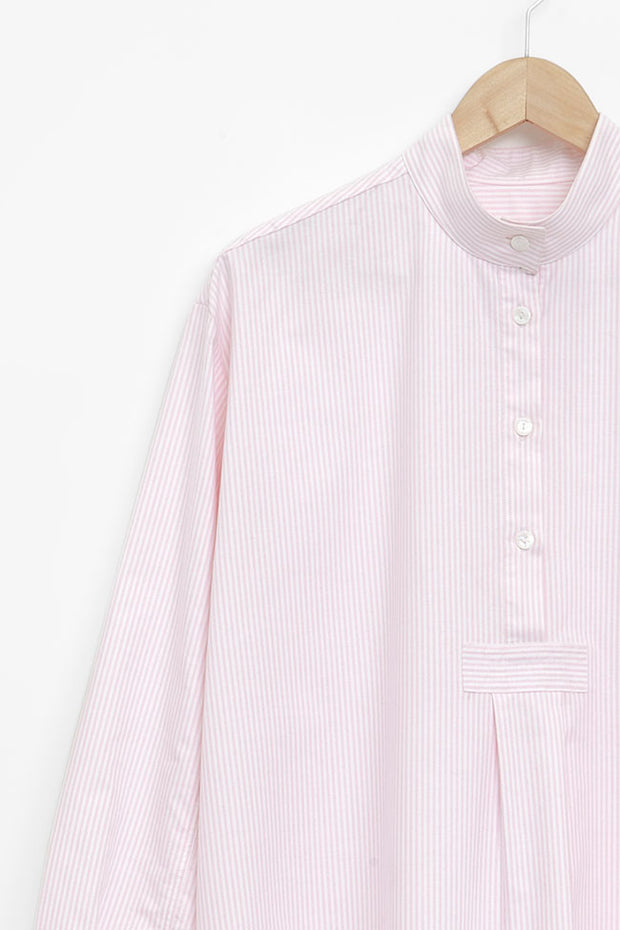 Long Sleep Shirt Pink Oxford Stripe
