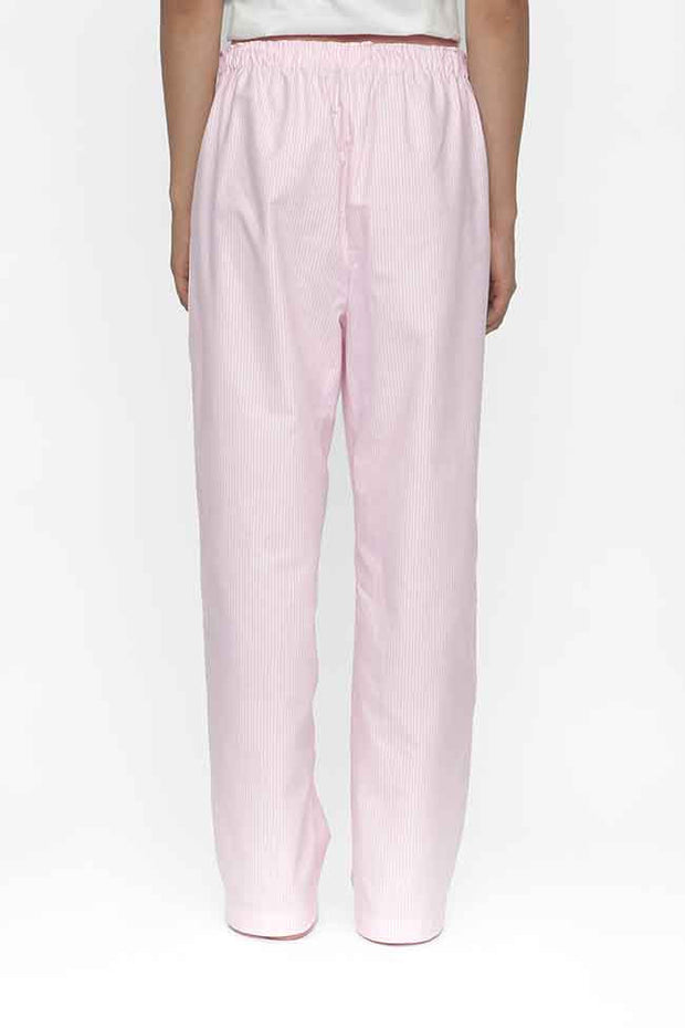 back view classic lounge pants in pink oxford stripe cotton by the Sleep Shirt