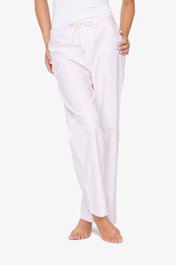 front view classic lounge pants in pink oxford stripe cotton by the Sleep Shirt