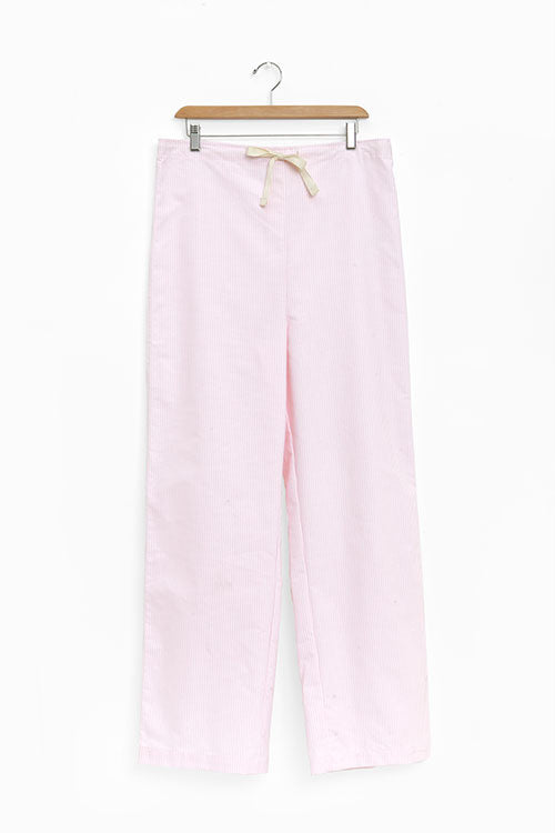 Set - Short Sleeve Cropped Sleep Shirt and Lounge Pant Pink Oxford Stripe