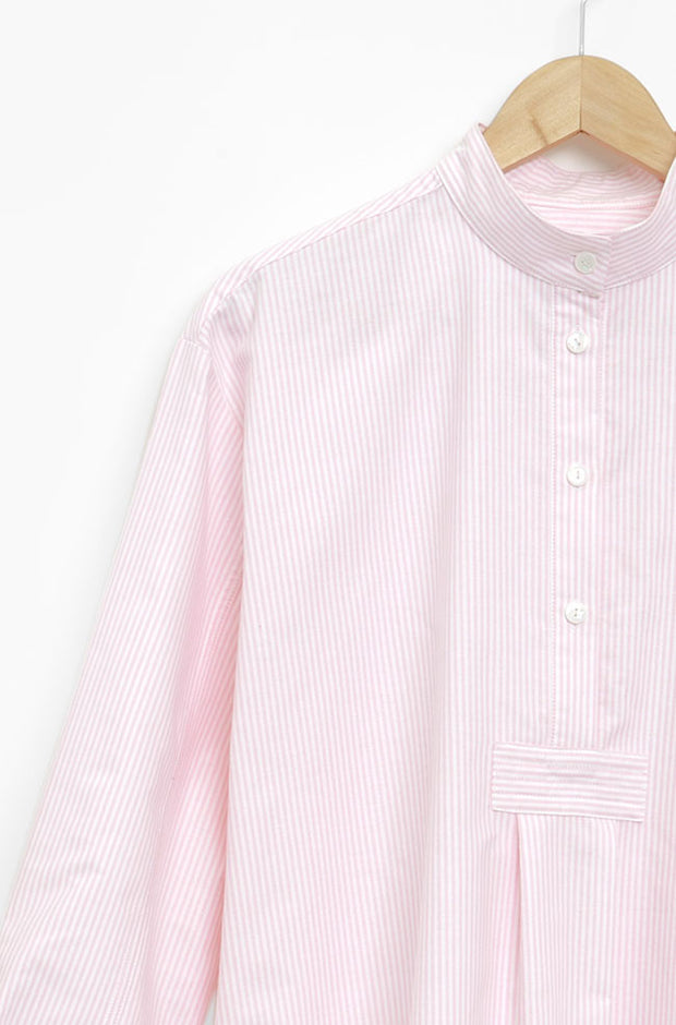 Short Sleep Shirt Pink Oxford Stripe