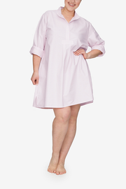 front view Plus size classic short sleep shirt pink oxford stripe cotton by the Sleep Shirt