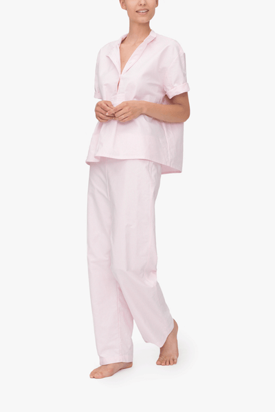front view tshirt top lounge pants pajama set pink oxford stripe cotton by the Sleep Shirt