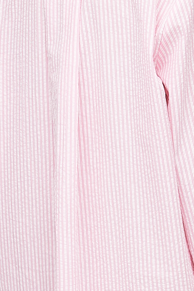 Long Sleep Shirt Pink Seersucker Stripe