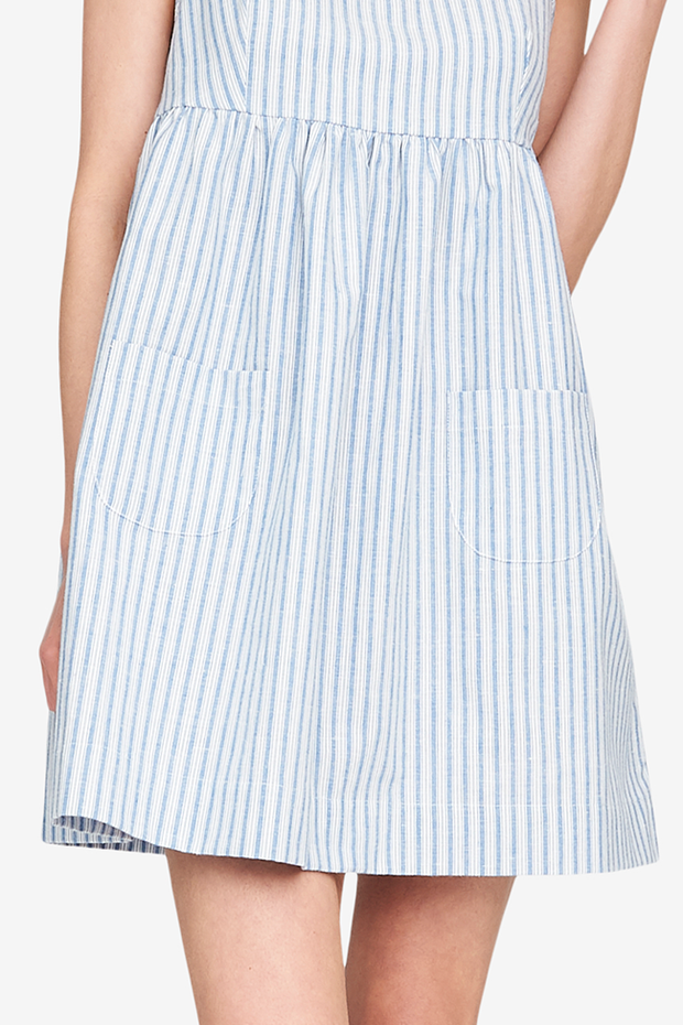 Pocket Nightie Sapporo Cotton Linen Stripe