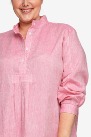Long Sleep Shirt Raspberry Pink Linen PLUS