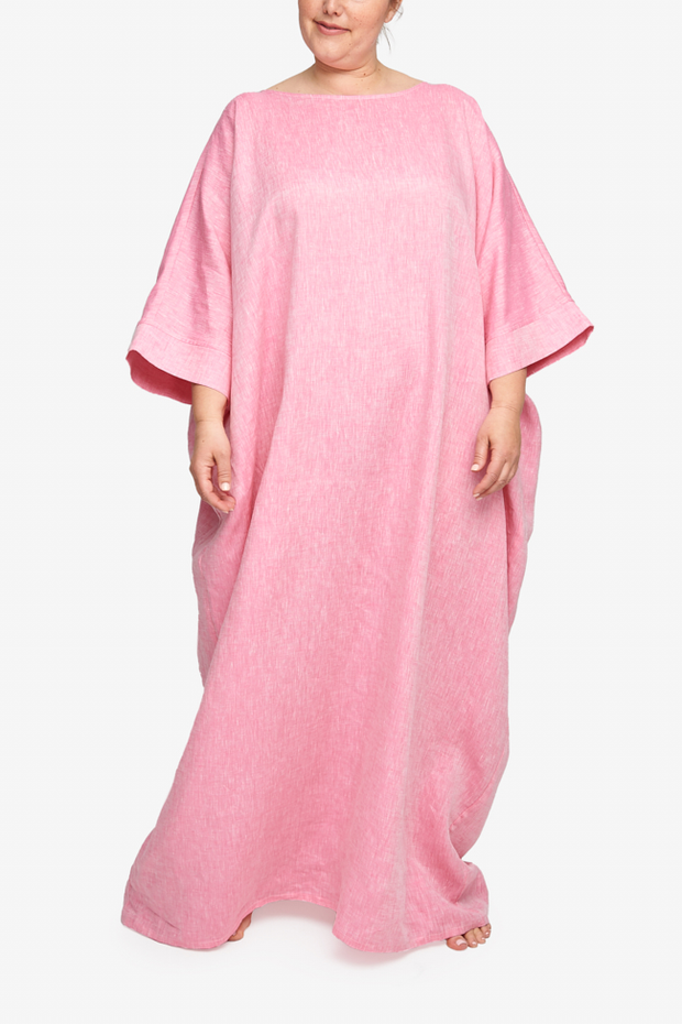 Oversized Kaftan Raspberry Pink Linen PLUS