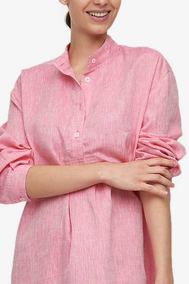 Short Sleep Shirt Raspberry Pink Linen