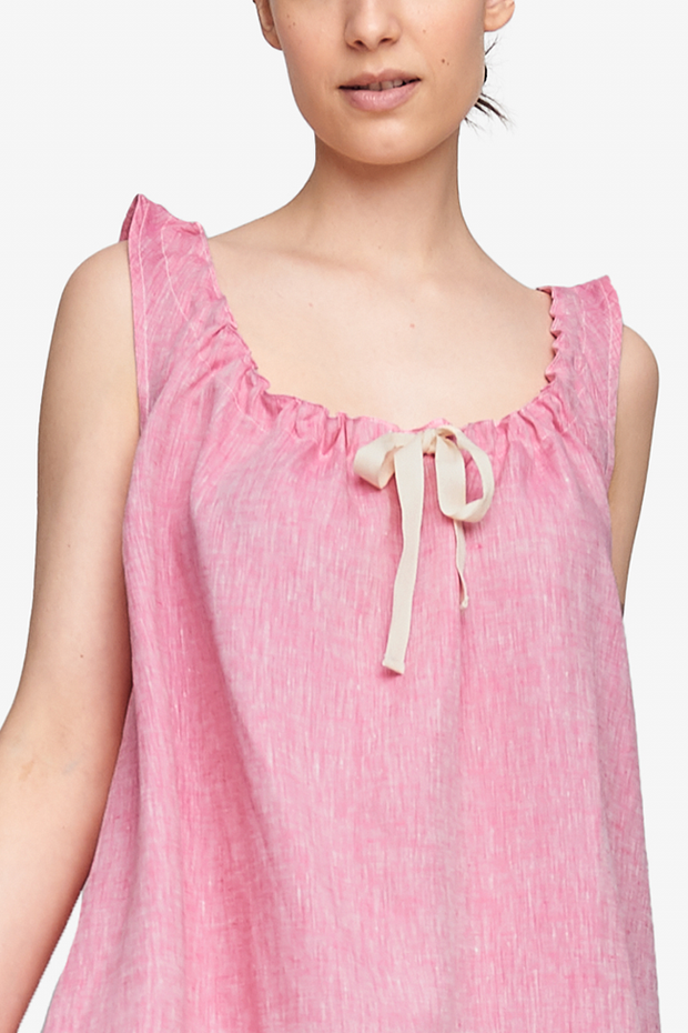 Sleeveless Nightie Raspberry Pink Linen