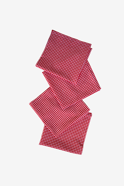 Large Red Picnic Check Napkins - Set of 4