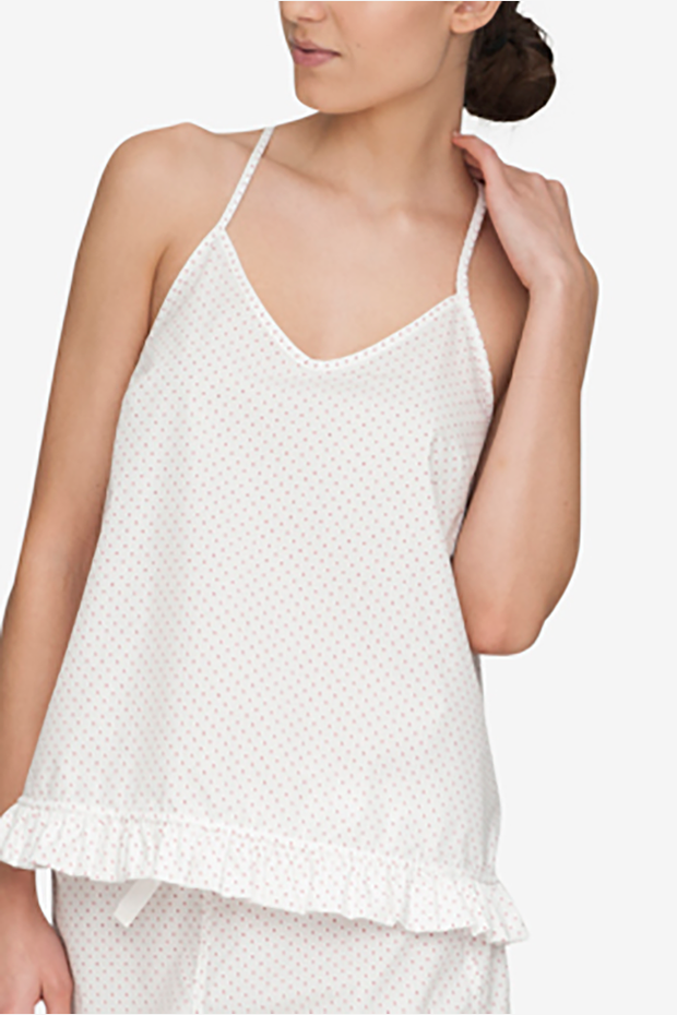front view of ruffle camisole in white with red dot cotton by The Sleep Shirt
