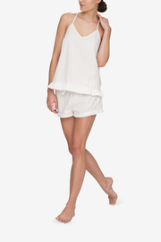 front view of ruffle camisole and short set in white with red dot cotton by The Sleep Shirt