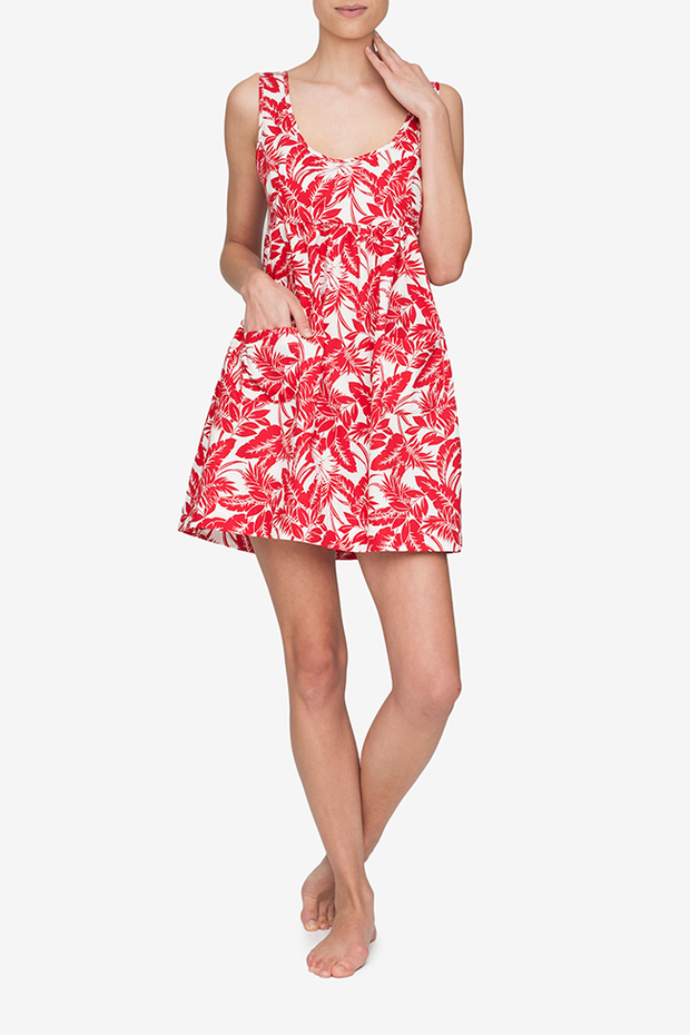 front view of pocket nightie in red tropical print cotton by The Sleep Shirt