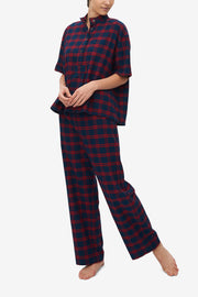 Lounge Pant Red & Navy Check Flannel