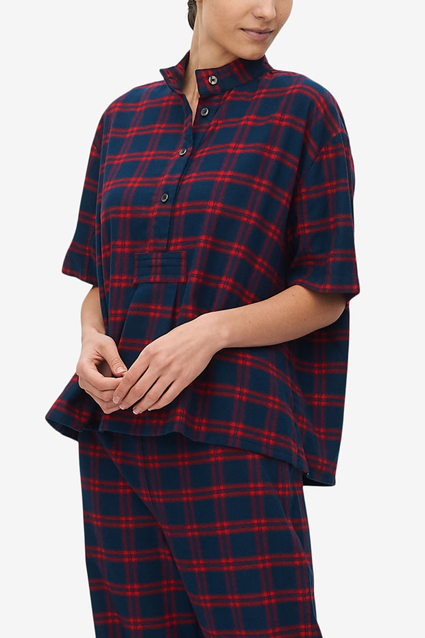 Set - Short Sleeve Cropped Sleep Shirt and Lounge Pant Red & Navy Check Flannel