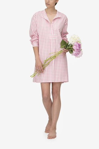 Short Sleep Shirt Rosy Gingham