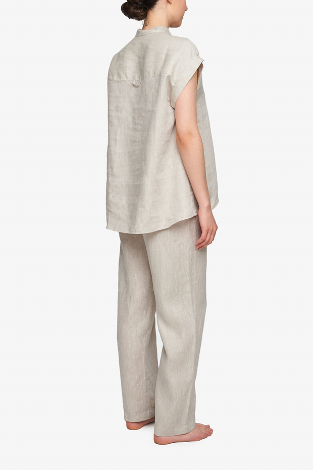 Cuffed Sleeve Shirt Sand Linen