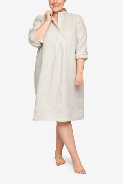 Long Sleep Shirt Sand Linen PLUS