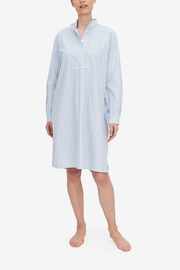 This longer, knee length Sleep Shirt has reached a new level of luxury this blue and white striped fabric. It's a heavier weight but still feels light and soft.