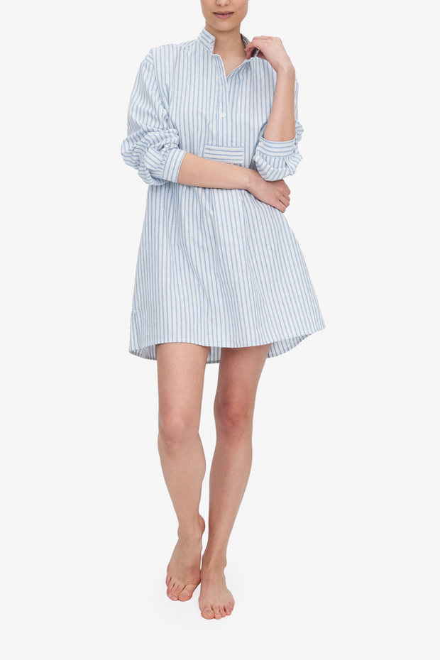 The Short Sleep Shirt hits most a couple inches below the knee, or mid-thigh if you're a modelesque hight like Emily, shown here. This Sleep Shirt is made in a lush cotton and linen blend, in white and blue stripes.