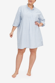 The Short Sleep Shirt hits most a couple inches below the knee, or mid-thigh if you're a modelesque hight like Charlotte, shown here. This Sleep Shirt is made in a lush cotton and linen blend, in white and blue stripes.