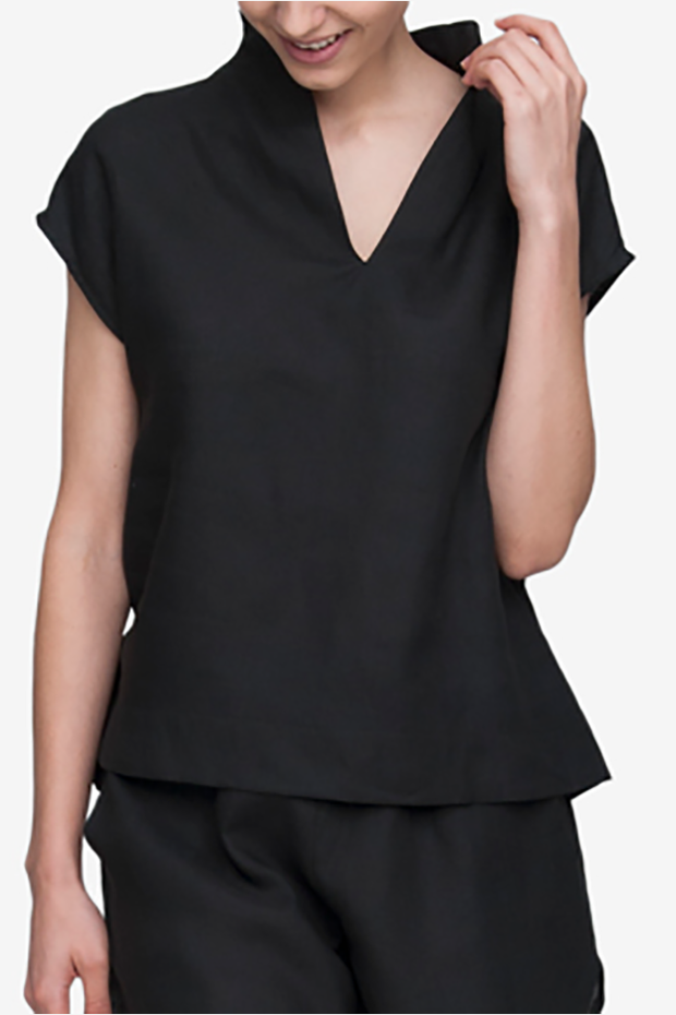 front view shawl collar pajama top black linen by the Sleep Shirt