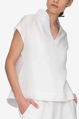 front view shawl collar pajama top white linen by the Sleep Shirt