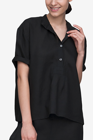 front view t-shirt top pajama top in black linen by The Sleep Shirt