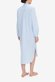 Ankle Length Sleep Shirt Sky Blue Linen Blend