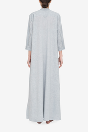 back view floor length sleep shirt grey smoke cotton linen blend by the Sleep Shirt