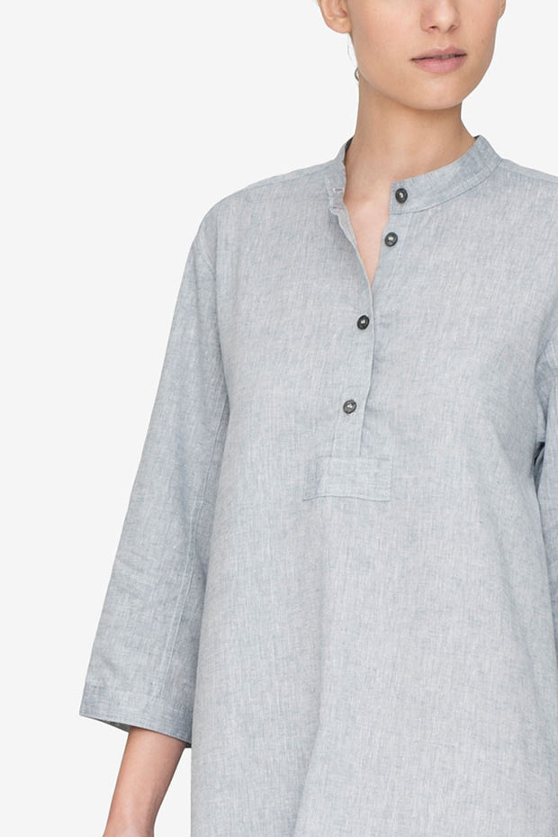 Full Length Sleep Shirt Smoke Linen Blend