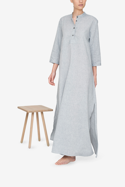 front view floor length sleep shirt grey smoke cotton linen blend by the Sleep Shirt